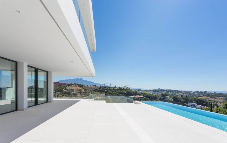 Villa meteen aan de golf van Los Flamingos, aan de golfbaan, de zee en de bergen