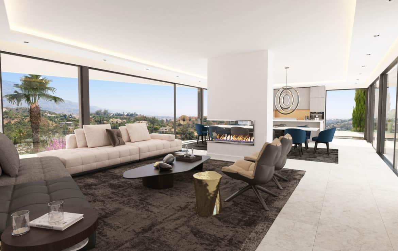 Villa te koop in prestigieuze wijk La Quinta bij Marbella, lounge met schitterend vakantiezicht op zee en bergen