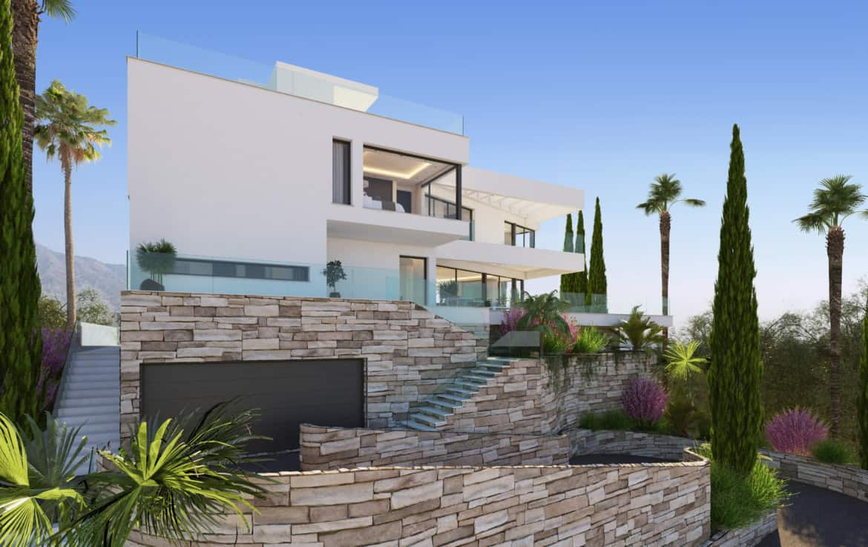 Villa te koop in prestigieuze wijk La Quinta bij Marbella, imposante oprit met ruimte